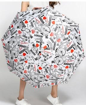 3 unids/lote, sombrilla de bolsillo anti-UV con revestimiento negro resistente al viento, 5 veces, de fibra de vidrio, paraguas con diseño de insectos