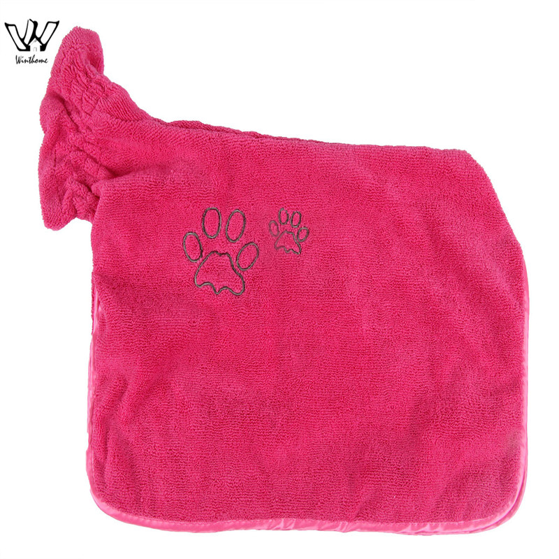 Dog Bathrobe Warm Pets Clothes Super Absorbent Pet Drying Towel Embroidery Paw Cat Hood Pet Bath Towel Grooming Pet Product Big ...