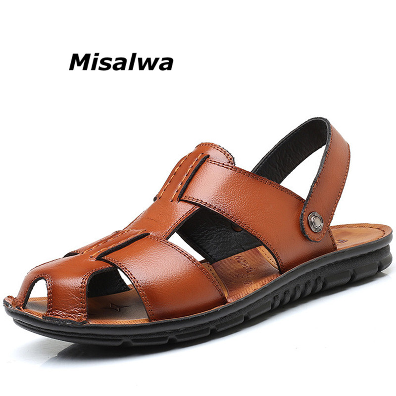be5586602e1b6 Misalwa Men s Sandals Summer Genuine Leather Beach Roman Men Slippers  Sneakers Brand Massage Non-Slip Flip Flops Flats Big Size