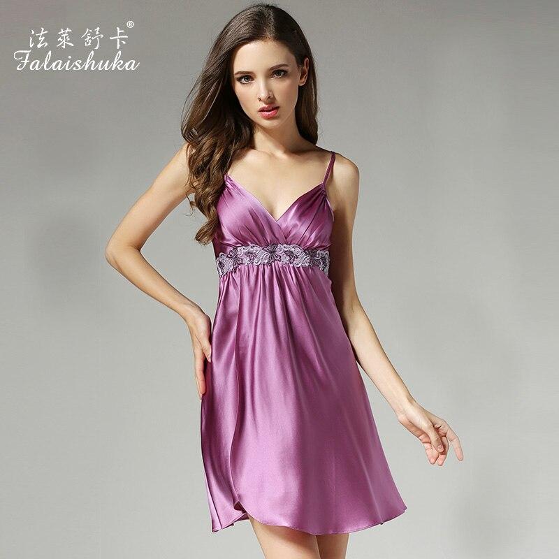 2020 Summer Women Silk Nightgowns Sexy Deep V Lace Nightdress 100% Mulberry Silk Sleepshirts Sleeveless Silk Sleepwear D12012