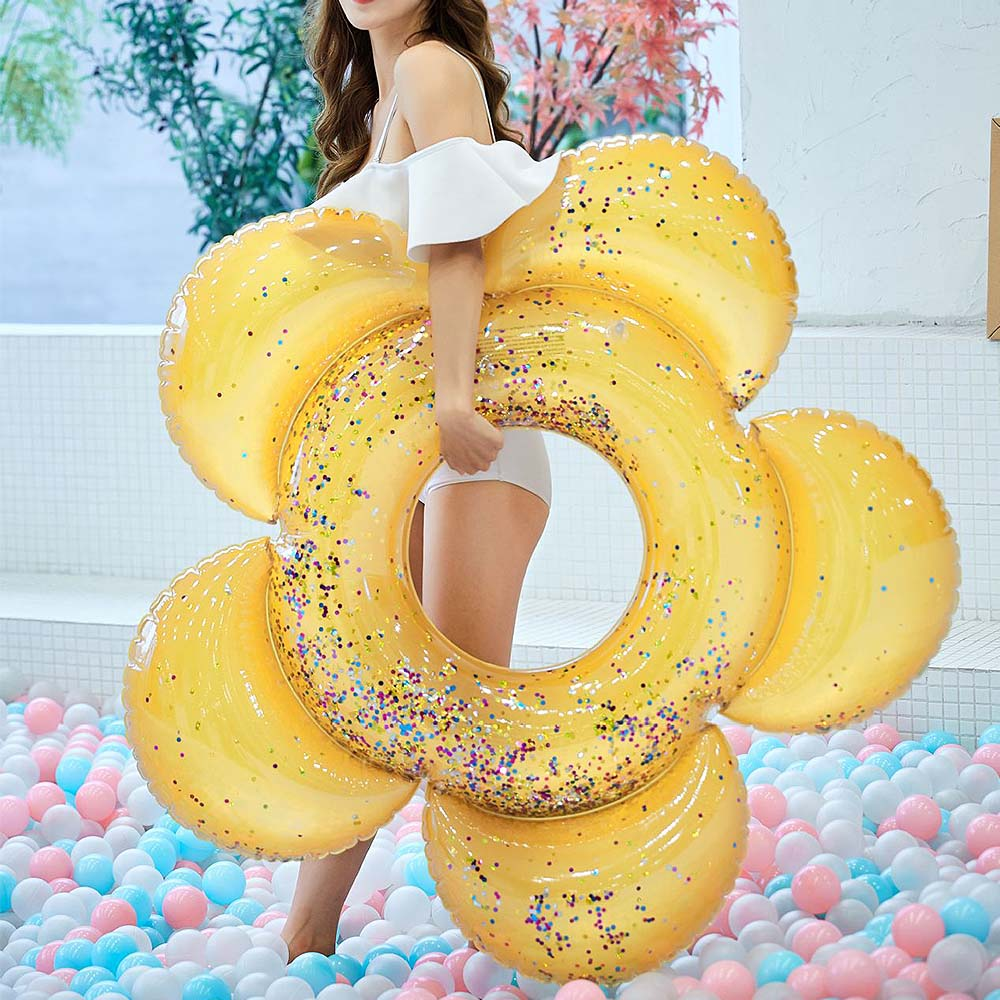 Adult Kids Swimming Toys Inflatable Swimming Ring Sequins Flower Swimming Circle Buoy Floating Row Swimming Pool Floating-seat
