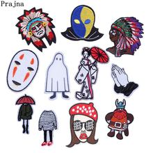 Prajna Iron On Patches Funny Face Emo Ghost Bats Man Japan Nirvana Embroidery Appliques For Clothing DIY Jean Stripe On Clothes(China)