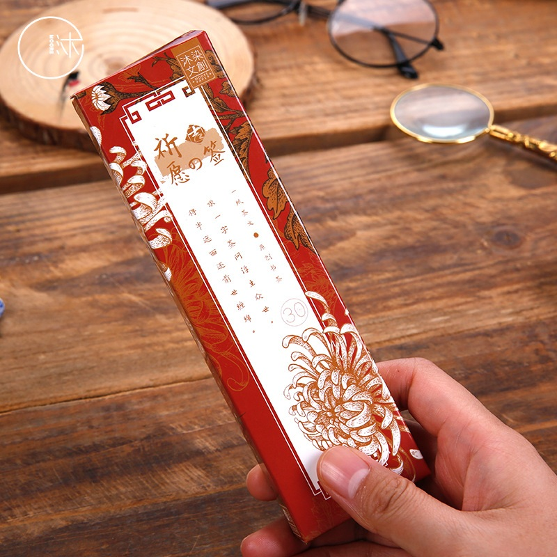 30 Pcs/Set Pray Series Bookmark Retro Chinese Style Patterns Book Holder Message Card Gift Stationery