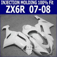 pure white ZX 6R For Kawasaki Ninja zx6r 2008 08 Fairings 07 2007 Fairing kit (100%FIT) Injection molding S69