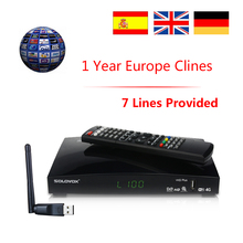 DVB-S2 Satellite Receiver with Cccam 7 Clines for 1 Year Spain Portugal Europe 1080P Digital TV Tuner Receptor PK V8 V9 Super
