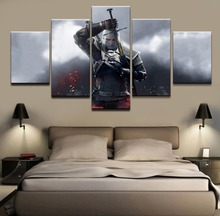 The Witcher 3 Geralt of Rivia Game HD Print Wall Art For Living Room Painting Wall Art Painting Canvas 5 Piece Home Canvas Decor все цены