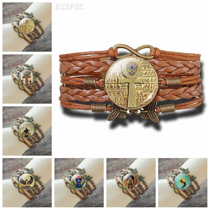 Pulsera de Cruz ANJ egipcio Vintage Antiguo Egipto Anubis Scarab diosa Retro marrón multicapa pulsera de cuero para hombres y mujeres