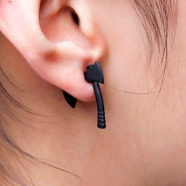 Doreen Box Double Sided Ear Post Stud Earrings Black Axe 26mm X 20mm