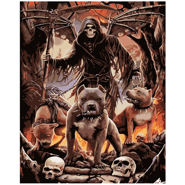 Painting By Numbers Death Deathly Reaper Gothic Horror