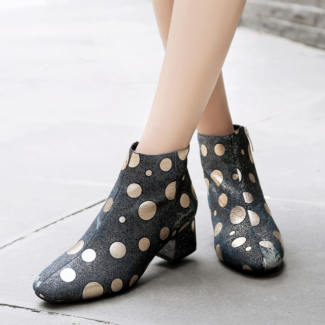 PXELENA Retro Polka Dot Denim Ankle Boots Women Square Med Heels Short  Boots Lady Shoes 2018 Winter New Style Fashion Blue 34-43 e93497bd88bd
