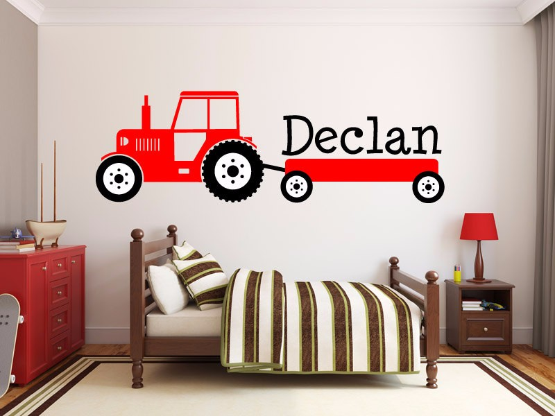 jongens tractor naam monogram decal kinderkamer vinyl muurtattoo grafische jongens baby slaapkamer woondecoratie gratis verzending maat 140x50 cm