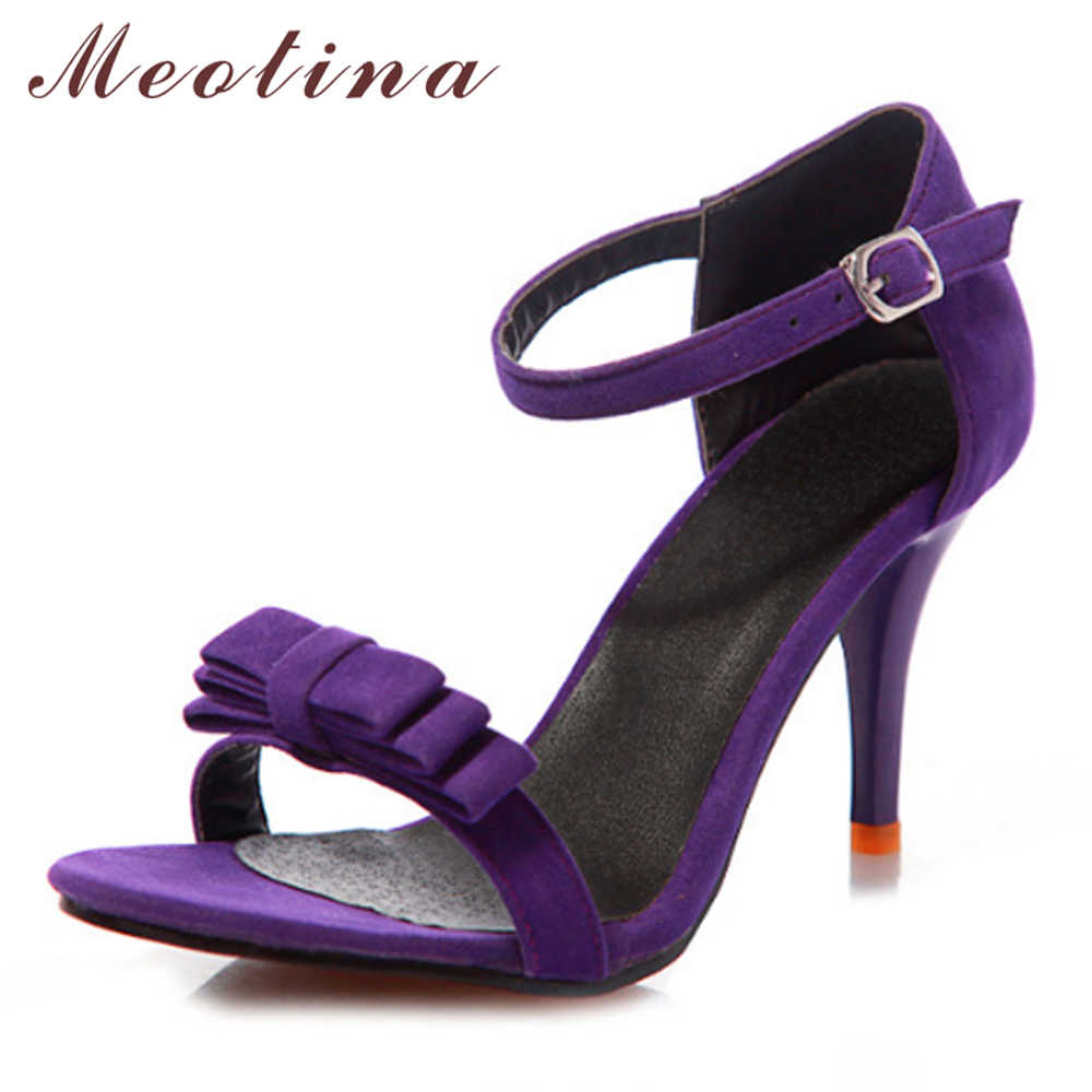 Meotina Shoes Women Sandals Summer Ankle Strap High Heels Sandals Bow Ladies Sandals Purple Green Black Shoes Big Size 9 10 43