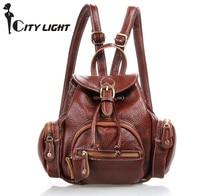 2016 Haute qualité école sac femmes sac à dos épaules voyage femelle sacs mini petits sacs doux véritable sac en cuir freeshipping