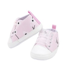 2018 Baby Canvas Plum Print Shoes Girls Ribbon Indoor Shoes