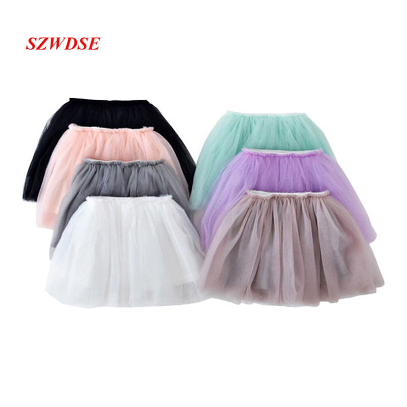 2018 Summer Style Lovely Ball Gown Mesh Skirt Girls Tutu Skirt Pettiskirt 10 Colors Girls Dance Skirts for 2-7 Years Kids Skirts