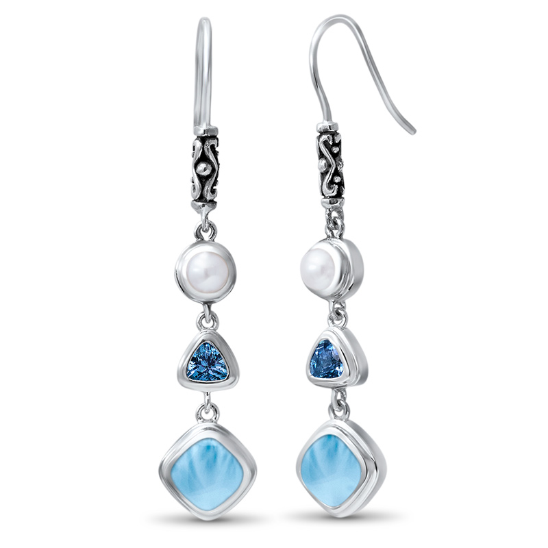 New Fashion Woman Jewelry 925 Sterling Silver Handmade Earrings Natural Real Larimar Dangle Drop Earrings 1