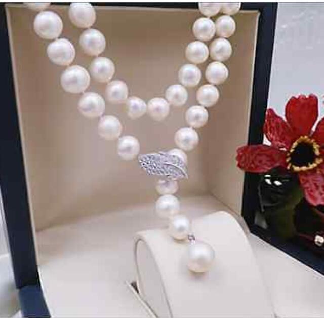 Nouveau design 9-10mm rond sud collier de perles blanches 34 poucesNouveau design 9-10mm rond sud collier de perles blanches 34 pouces