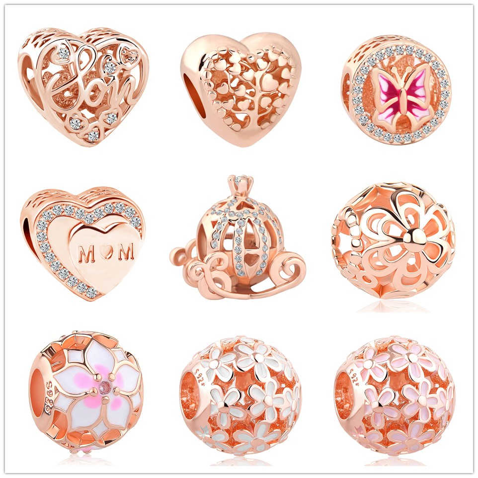 New Original Rose Gold Color Bead Magnolia Bloom Flower Family Life Tree Charm Fit Pandora Bracelet Necklaces DIY Women Jewelry