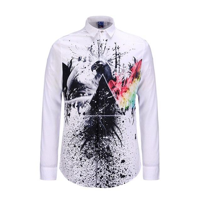 Люксовый Бренд Мужские Рубашки Вскользь Платья Мода Дизайн Печатных Мужчин Slim Fit Рубашки С Длинным Рукавом Сорочка Homme Случайные Camisas Hombre