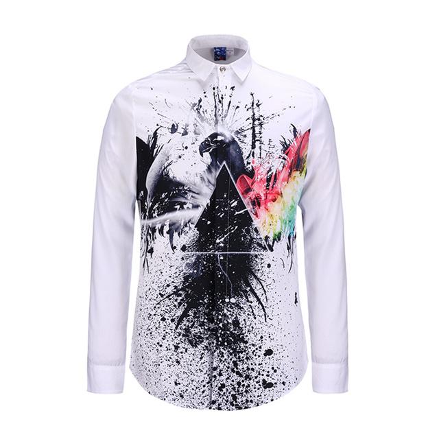 Marca de lujo Camisas de Vestir Casuales de Moda Diseño Impreso Hombres Camiseta Slim Fit Manga Larga Camisas Hombre camisa Chemise Homme Casual