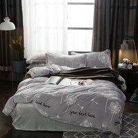 Kalın polar Sıcak yatak Örtüsü Pembe Gri Kraliçe kral Yatak Yetişkinler için Çarşaf setleri nevresim çarşaf set Kızlar Boys