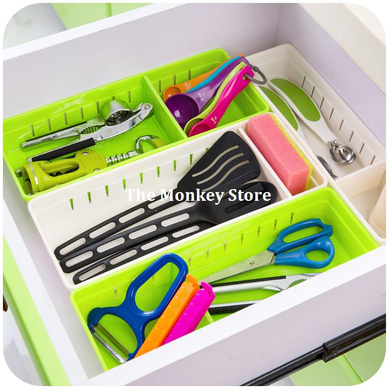 kitchen plastic cutlery drawer with grid storage box free partition cupboard refrigerator organize cases f3722 cheap office storage