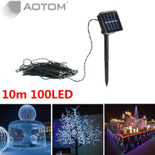 2PC-2016 10M 100 LEDs Solar Power Fairy Lights Holiday Lighting Xmas Holiday Party Outdoor Garden Tree Decoration Strings Lamp
