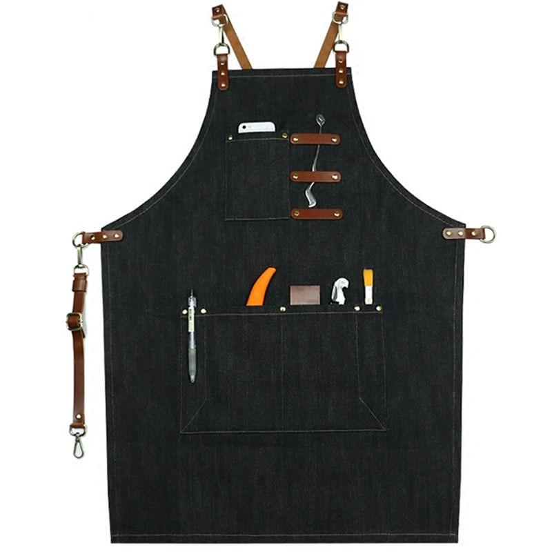 Črni denim predpasnik iz kravjega usnjenega pasu Barista barmen pecivo kuhar Chef uniform Barber cvetličar vrtnar umetnik delo nosi XL K53