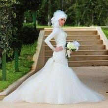 muslim hijab wedding dress long sleeve Mermaid Sweetheart Pearls zipper back vestido de noiva louisvuigon 2017 Bridal Gowns