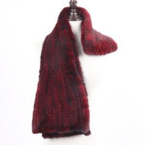 Image 3 - 2020 chegada nova inverno outono senhora moda vison pele cachecol de malha real vison peles cachecóis 170x15cm quente elegante muffle de pele feminina