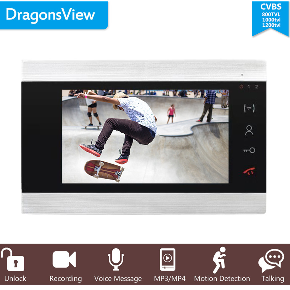 "Dragonsview 7"" Wired Video Intercom System Door Phone Recording Motion Detection 4 Wires Unlock Talking 1 Monitor"