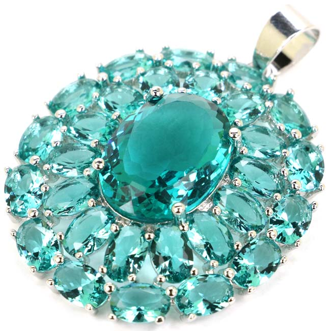 Big Heavy Gem Rich Blue Aquamarine Wmoans Wedding 925 Silver Pendant 44x31mm