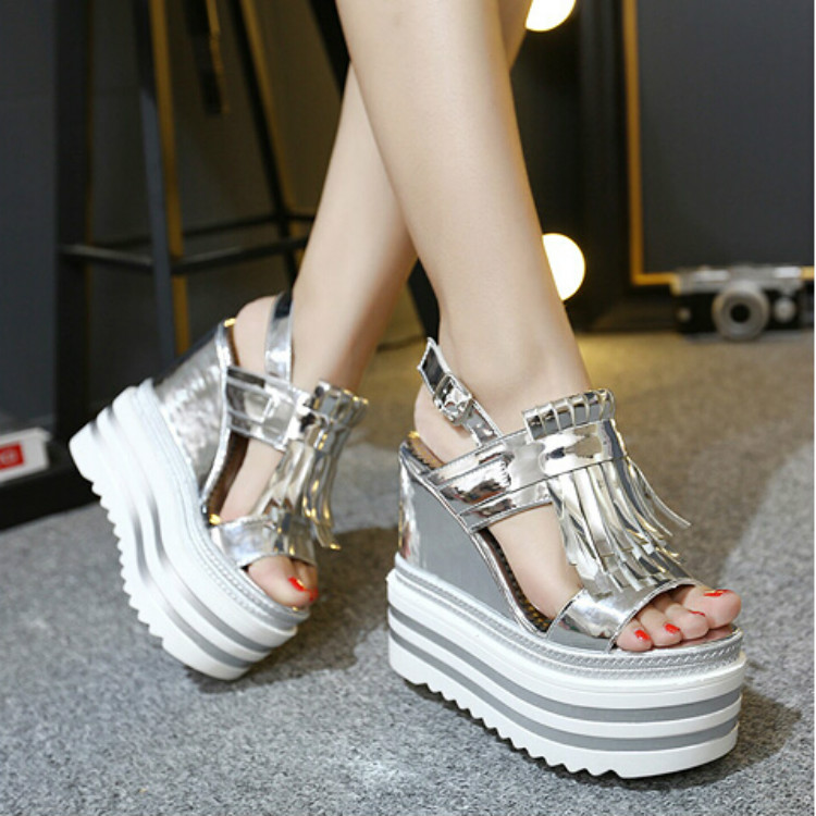 ФОТО Korean female summer 2016 new super high heels wedges Increased sandals high water table within 14cm thick crust muffin