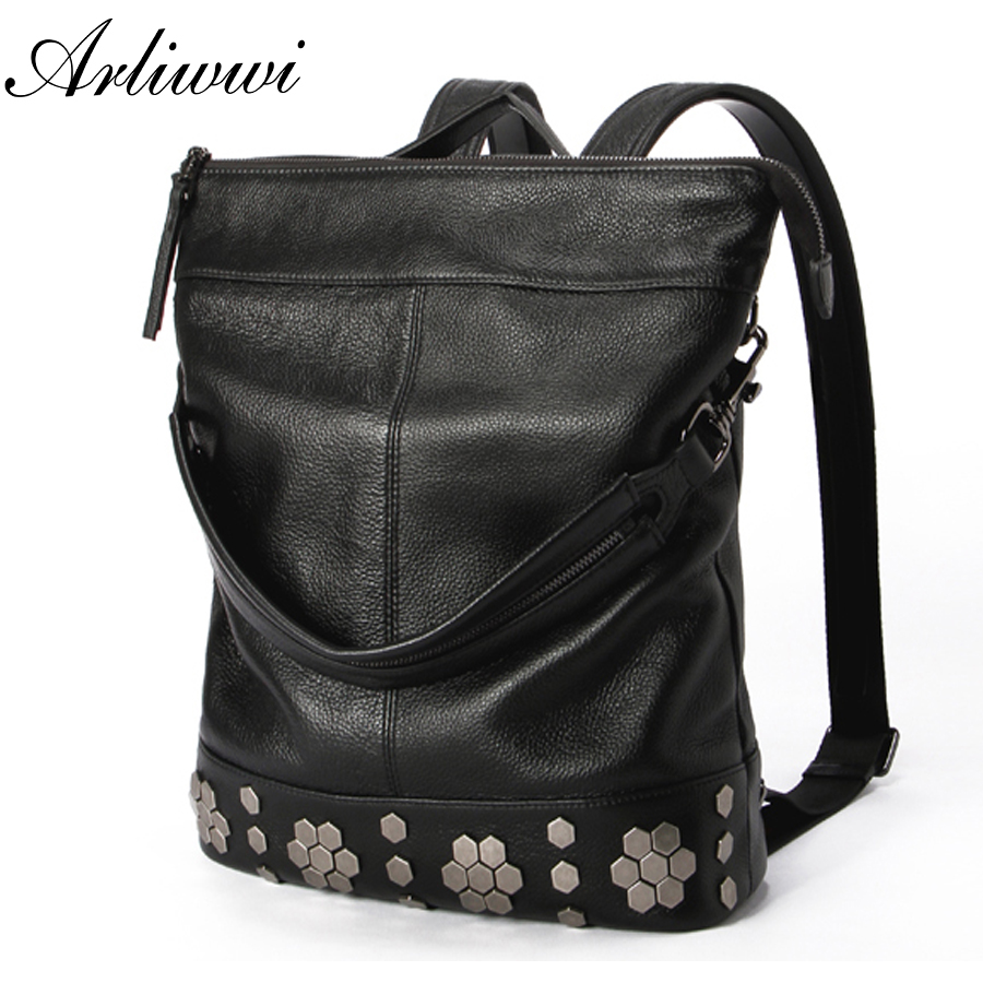 Arliwwi Brand Leisure Style Black Color Backpack Multi Functional Large Capacity Women Shoulder Bag With Flower Decoration B2206Arliwwi Brand Leisure Style Black Color Backpack Multi Functional Large Capacity Women Shoulder Bag With Flower Decoration B2206