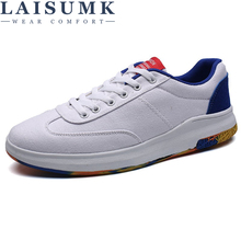 2019 LAISUMK Brand Canvas Sneakers Men Casual Shoes Breathable Multi-Colored Bass Mans Lace Up Footwear