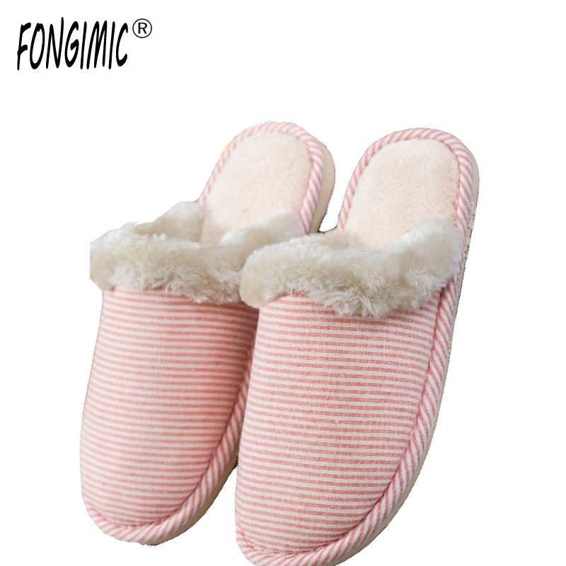 FONGIMIC Indoor Slippers Men Women Casual Striped Wear Shoes Comfortable Autumn Winter Couple Fashion Cotton Slippers 5 Color new arrival fashion style couple wear shoes striped men women winter time slippers indoor wear unisex good quality comfortable