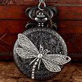 Unique Dragonfly Pendant Antique Black Quartz Pocekt Watch Mens Women Vintage Fob Watches Necklace Chain Retro Clock Gifts