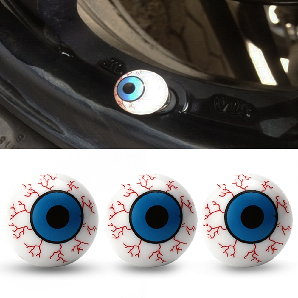 4pcs Novelty Eyeball Car Wheel Tire Air Valve Stem Caps Motorcycle Tyre Stem Air Caps Airtight Cover Car Accessories Car-styling