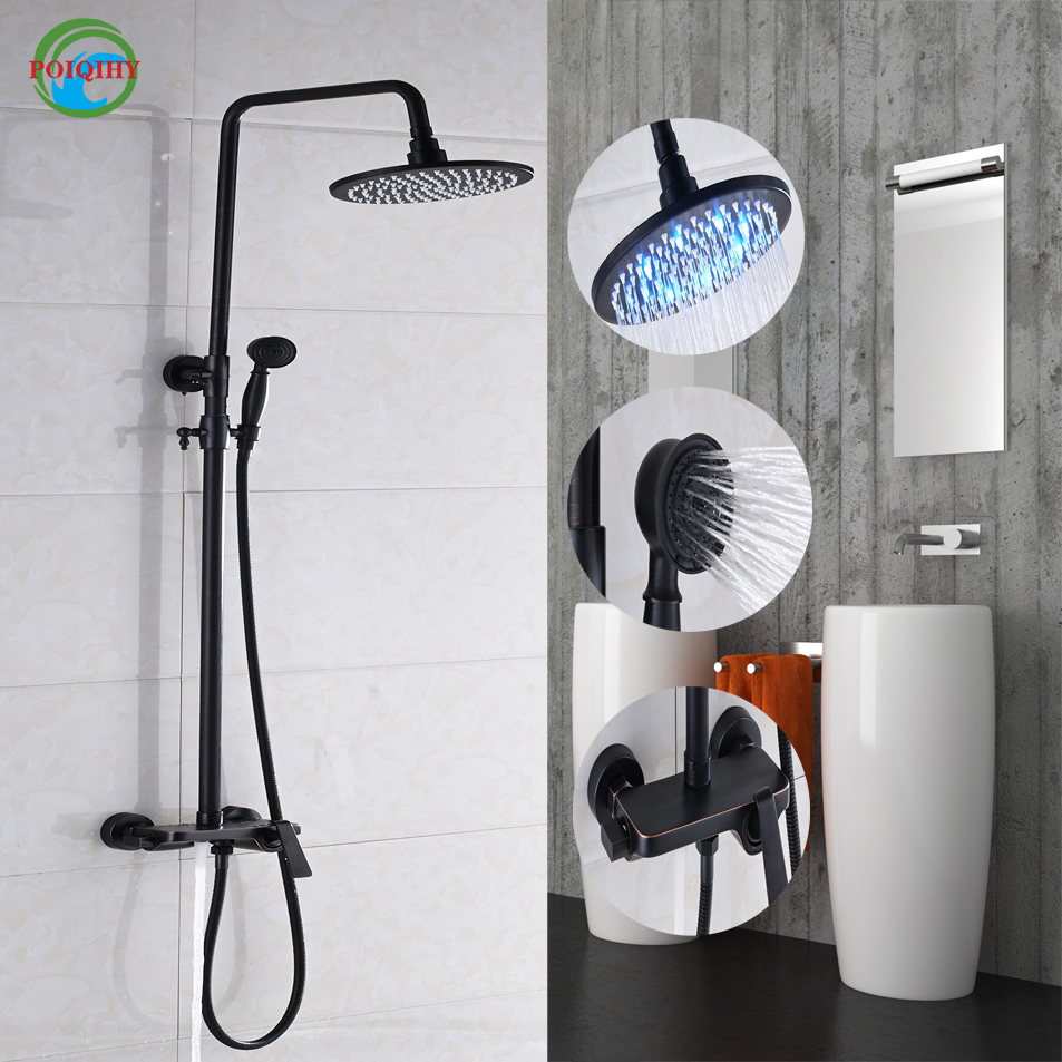 Thermostatic Oil Rubbed Bronze Wall Mounted Two Styles 8 Rain Shower with LED Faucet Set  Bathroom Shower Mixer Tap black oil rubbed bronze wall mounted toothbrush holder with two ceramic cups set bathroom accessories wba859