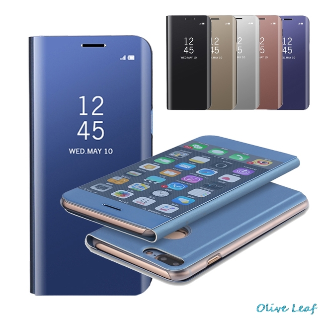 premium selection 2aae9 decc2 US $9.85  Aliexpress.com : Buy For Samsung Galaxy S6 Edge Plus S7 Edge S8  Plus Note 5 8 Flip Case Transparent Cover PU Leather Cases Holder Mirror ...