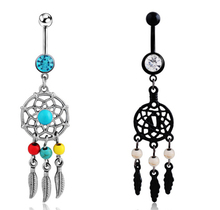 2016 new Body Jewelry Crystal Gem Dream Catcher Navel Dangle Belly Barbell Button Bar Ring Body piercing Art