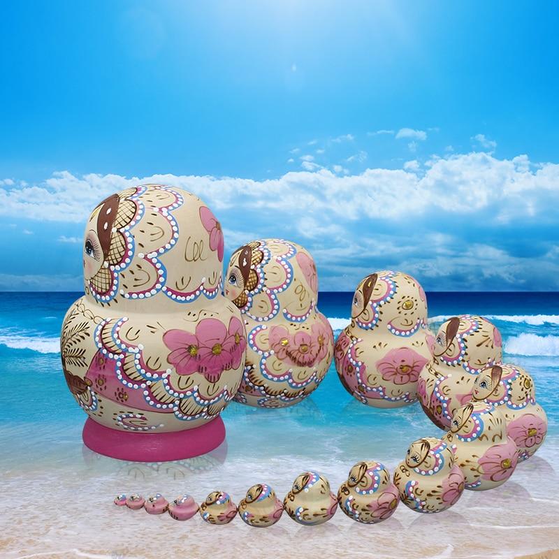 15 pièces/ensemble Matryoshka poupée peinte à la main russe nid poupée en bois jouets artisanat éducation jouets bébé anniversaire enfants - 3