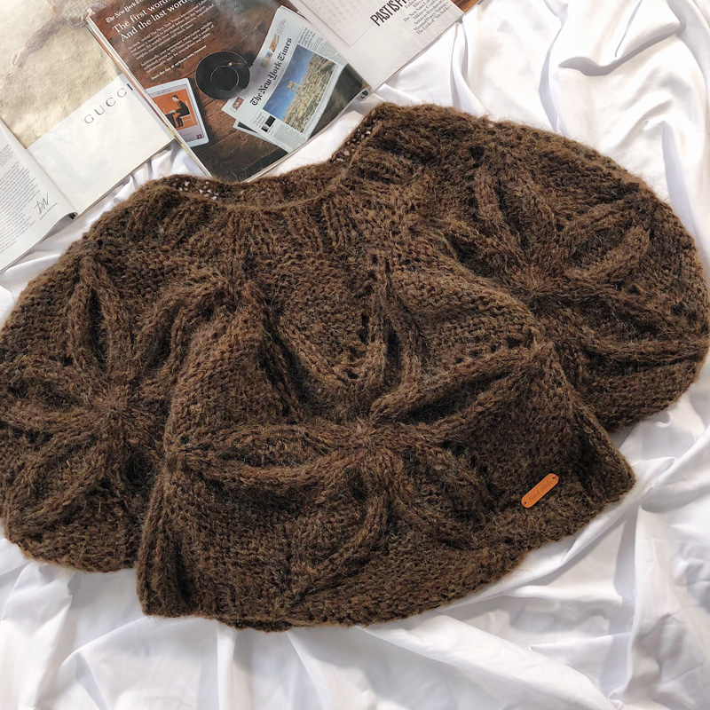 Mangas Gancho 5 2019 Las Poncho Mujeres marrón De Collar Beige Primavera Flor Párrafo Suéter Jersey caqui Murciélago Hipocampo punto qqYwAFB