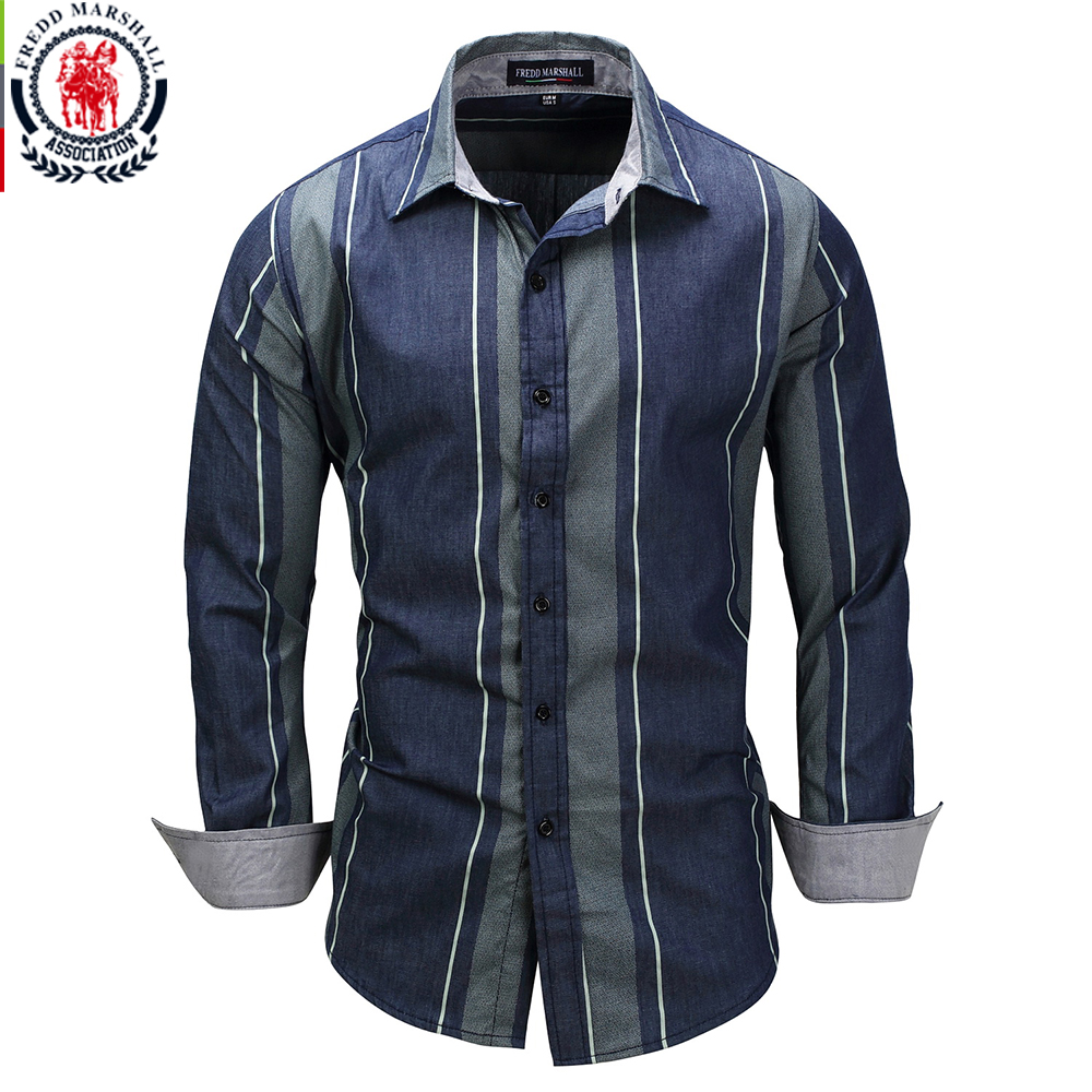 Fredd marshall 2017 new striped patchwork shirts long for Long sleeved casual shirts