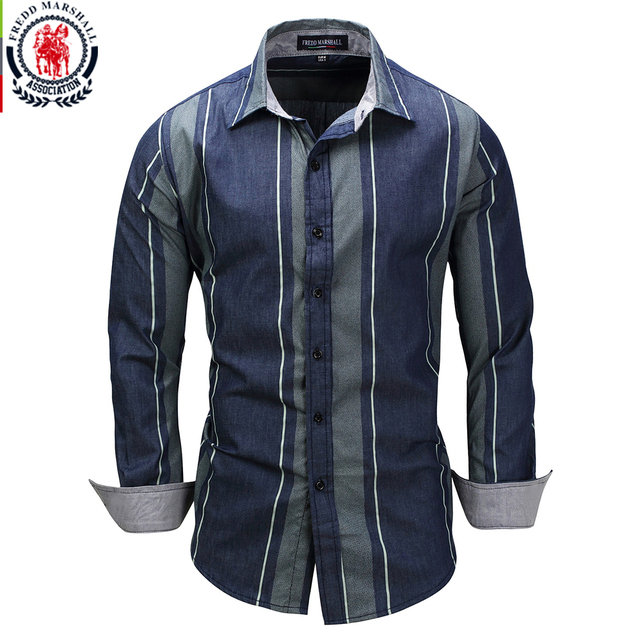 c6196cbd Fredd Marshall 2017 New Striped Patchwork Shirts Long Sleeve Casual Dress  Shirt Male Cotton Shirt Brand Camisa Masculina 3XL 079