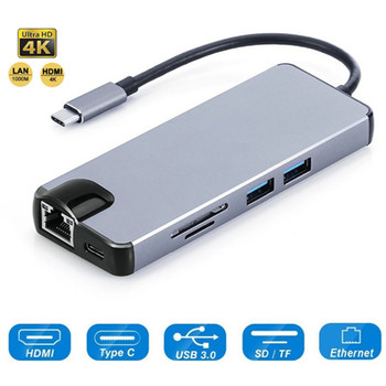 USB C Hub HDMI 4K USB-C to RJ45 Gigabit Ethernet VGA Port Type C Hub Power Delivery SD TF Card Reader for Macbook Pro