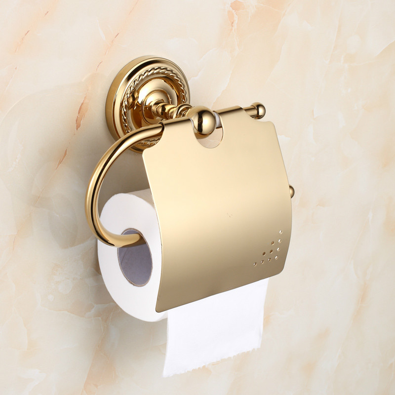 Antique Round Base Golden Chrome Paper towel rack/sanitary rack Brass Plated Antique Bathroom Wall Mount Sanitary products w92