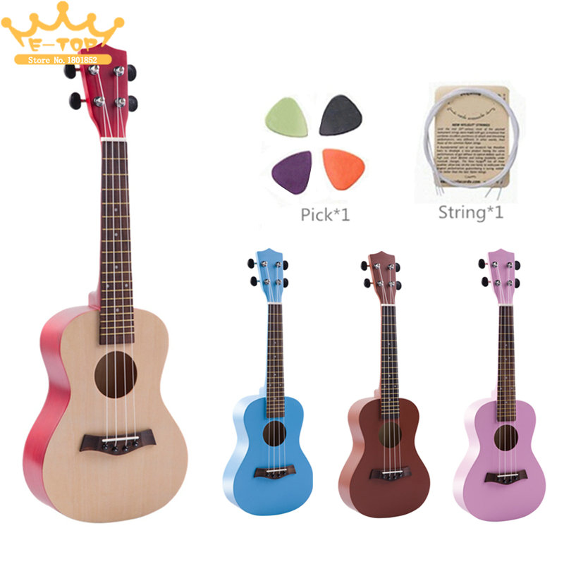 23 Inch Colorful Ukulele Hawaii Four String Guitar Ukelele + String + Pick Suitable for Children & Both Beginners colorful classical guitar strings colorful nylon colorful coated copper alloy wound 0285 044 inch alice a107c