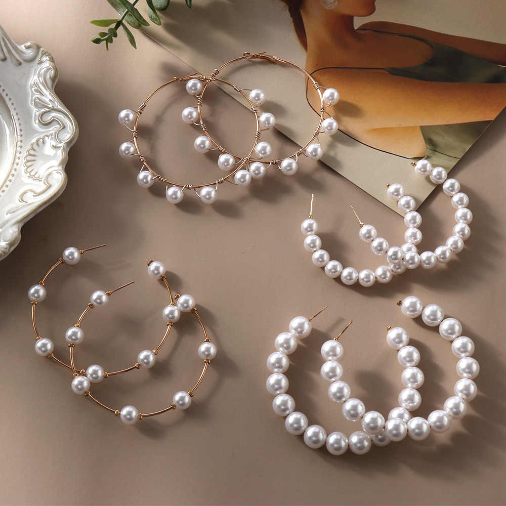 1Pair 2019 New Geometric Big Circle Round Drop Earrings For Women Simulated Pearl Hoop Earring Jewelry Accessories Gifts