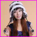 Winter Rex Rabbit Fur Hats Beanies For Women Genuine Rabbit Fur With Ear Flap Caps Hat Top Quality